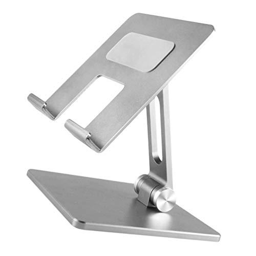 SOLUSTRE Soporte Ajustable para Tableta Base de Base para Tableta de Aluminio de Escritorio Compatible con Tabletas de 10 a 15. Computadora de 6 Pulgadas Plateado