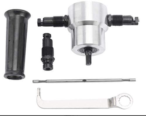 FreeTec Blechknabber Vorsatz für Bohrmaschine, Knabber Metall Schneidwerkzeug für Elektrowerkzeuge mit Schraubenschlüssel Bohrmaschinen-Befestigungssatz