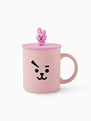 BT21 COOKY Character Cute Ceramic Travel Coffee Mug Tea Cup Tumbler with Silicone Lid, Pink