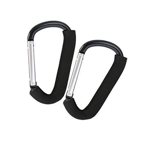 WeTest 2 Pack Big Stroller Hooks Clips and Aluminum Carabiner, Durable Multi-Purpose Mommy Strollers Storage Bag Hooks for Wallet, Shopping Bag,Black (LJ -ZLK-112701)