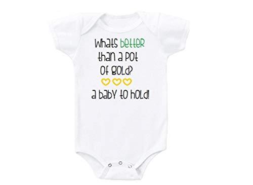 DKISEE Mono de bebé unisex un bebé para sostener es mejor que una olla de oro blanco divertido bebé mameluco de manga corta bebé mono 9 meses