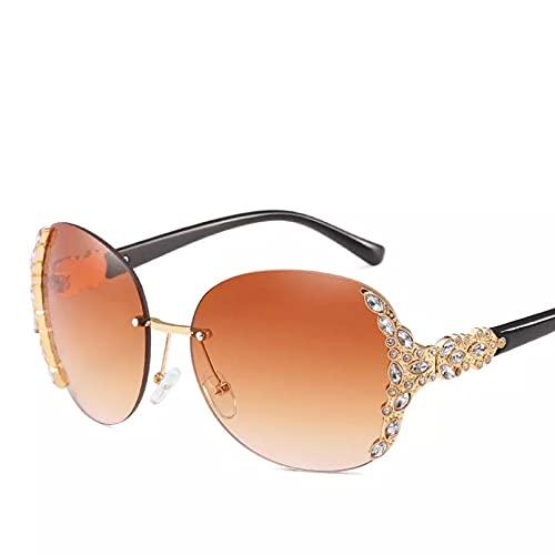 HHAA Nuevas Gafas De Sol con Incrustaciones De Diamantes A La Moda, Gafas De Sol Brillantes De Diseñador De Marca De Lujo para Mujer, Gafas De Sol Vintage con Montura Grande, Gafas De Sol