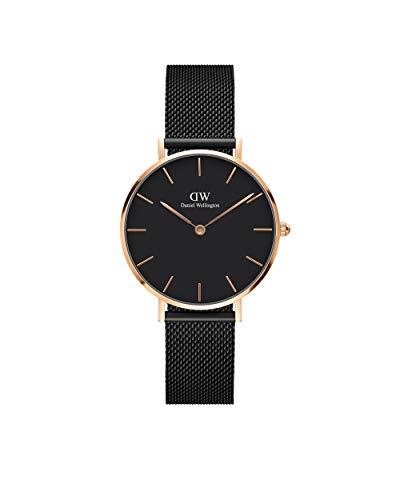 Daniel Wellington Petite Ashfield, negro / oro rosa, 32 mm, malla, reloj para mujer