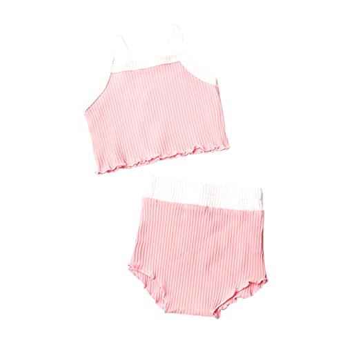Ropa Bebe Niña Verano 0-24 Meses Recién Nacido Bebé Ropita de Conjunto 2 Piezas, Blusa sin Manga + Pantalón Cortos de Color Sólido