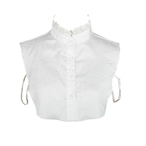 Joyci Simple Ruffles Fake Collar Detachable Dickey Collar Clothes Accessory (White)