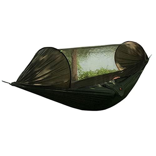 sharprepublic Hamaca con Acampada de Mosquitos, Anti-Mosquito Portátil Ultraligero, Swing Durmiendo Hamaca Cama con Red para Al Aire Libre, Senderismo, Mochilero, V - Ejercito Verde