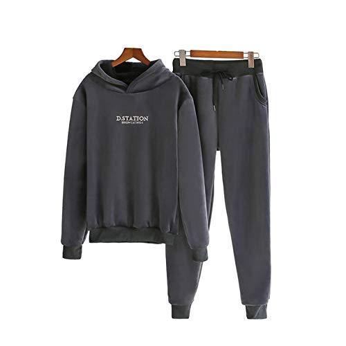 WOOKIT Conjunto de chándal para mujer de forro polar cálido y suave para entrenamiento con capucha y leggings 2 piezas-gris-L