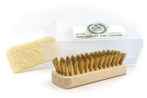 EssePi Leather color Spazzola SP Brush Ottone per Pulizia di camoscio. per Scarpe, Stivali, Borse ECC. in Pelle Scamosciata.