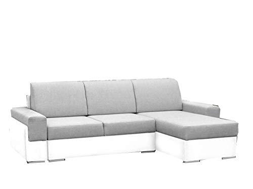 Canapé d'angle Blanc Tissu Confort