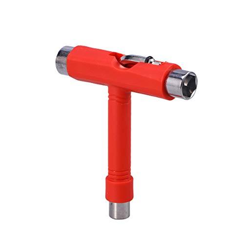 VORCOOL Skate Tools Multifunktions tragbare Skateboard T Tool Zubehör mit T-Typ Inbusschlüssel und L-Typ Schraubenschlüssel Schraubendreher (rot)