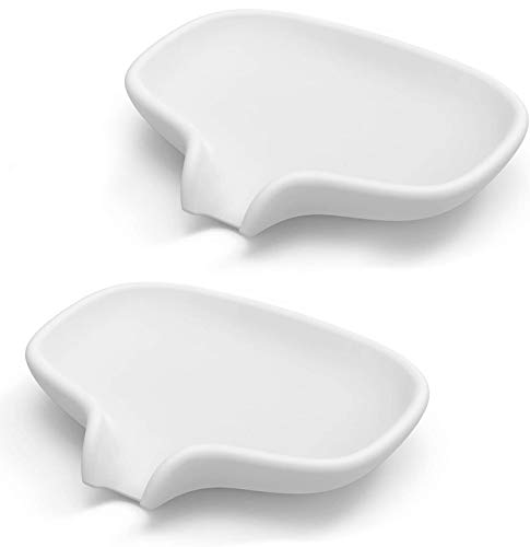 Lakifmo - Jabonera de Silicona Drenaje para Baño, Bandeja de Jabón Esponjas para Fregadero de Cocina, Blanco, 2 Piezas