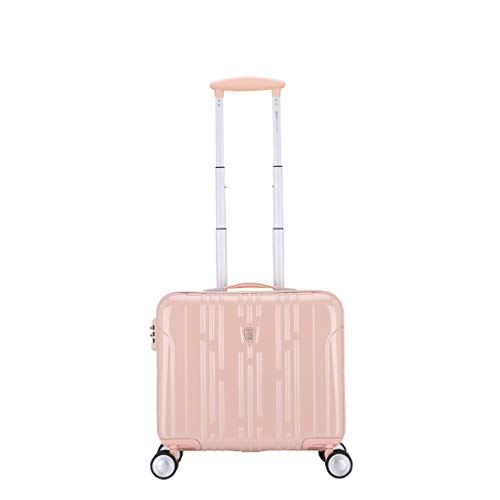 LLRDIAN Super Lightweight Hard Shell Travel Carry On Cabin Hand Luggage Suitcase with 4 Wheels, Boarding The Chassis Universal Wheel Trolley case (Color : Pink, Size : 36 × 23 × 42.5cm)