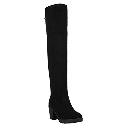 Damen Schuhe Stiefel Overknees Langschaft Boots Blockabsatz High Heels 152346 Schwarz Agueda 38 Flandell