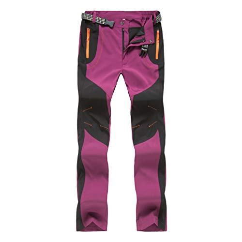 Haobing Unisexo Pantalones de Acampada y Marcha Pantalón de Senderismo y Trekking con Bolsillos de Cremallera y cinturón (Claret Mujer, CN S)