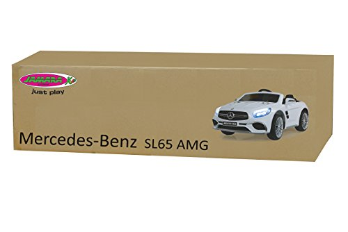 RC Auto kaufen Kinderauto Bild 3: Jamara 460296 Ride-on Mercedes SL65 weiß 12V – Softanlauf, 2-Gang, Stoßdämpfer, SD-Slot, AUX-und USB-Anschluss, LED, Hupe, bis zu 90 Min. Fahrzeit, Ultra-Gripp Gummiring*