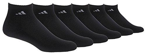 adidas Men's Cushioned Athletic Quarter Socks (6-Pack), Black/Aluminum 2, Shoe Size 6-12