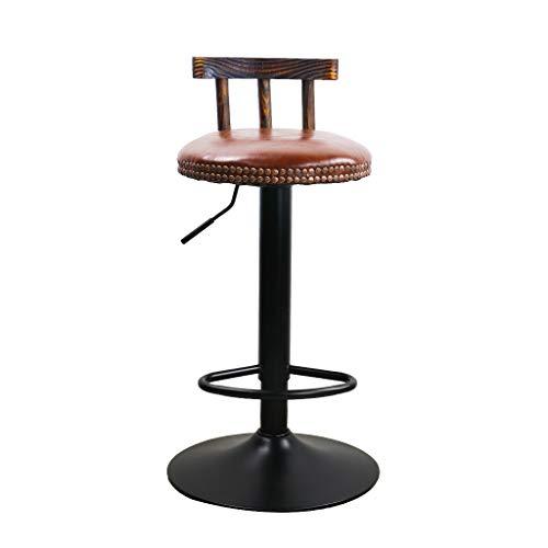 YX-lle home Rotary Verstelbare Barkrukken Kunstleer stoel met Houten Rugleuning en Voetsteun voor Ontbijt Bar Counter Keuken Home Bar krukken