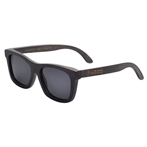 Iwood Unisex Madera Negro Pintura Marco polarizó el gris de la lente gafas de sol de bambú