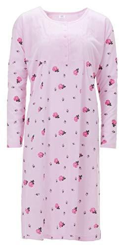 zeitlos Chemise de Nuit Dames Rose Manches Longues Grandes Tailles, Farbe:Rosa, Größe-Damen:4XL