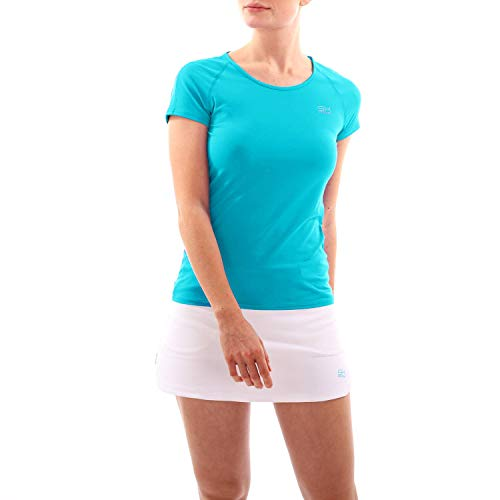 Sportkind T-shirt de tennis, fitness, sport, col rond, protection UV UPF 50+, respirant, manches courtes - Turquoise - 122