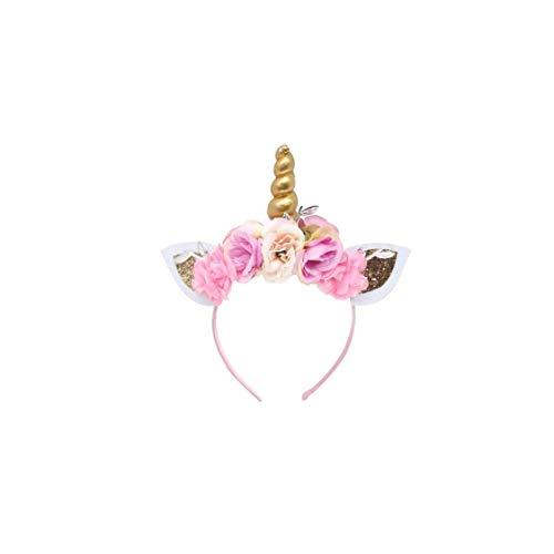 Einhorn-Stirnband Shiny Unicorn Horn Kaninchen-Ohr-Kopfschmuck Blume Einhorn Haar Hand Kind-Haar-Band-Partei-Kopfbedeckung Für Partei Cosplay A