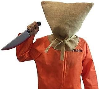 CL COSTUMES Halloween-Evil-Creepy-Inmate-Prisoner-Convict-Jail Death Row Hessian Hood/MASK/Sack & Weapon Fancy Dress Set
