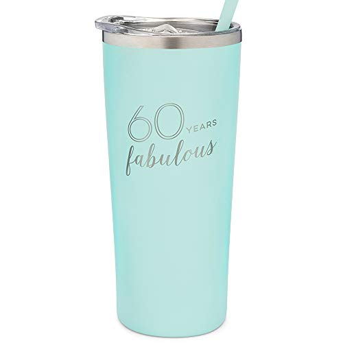 SassyCups 60th Birthday Tumbler | 60 Years Fabulous | 22 Ounce Engraved Mint Stainless Steel Insulated Tumbler with Lid and Straw | Sixtieth Bday Travel Mug | Women Turning Sixty