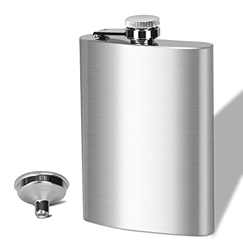 BEDEONE 8 Oz Flask for Liquor for Men, Leakproof Drinking Flask with Funnel, Stainless Steel Flask...