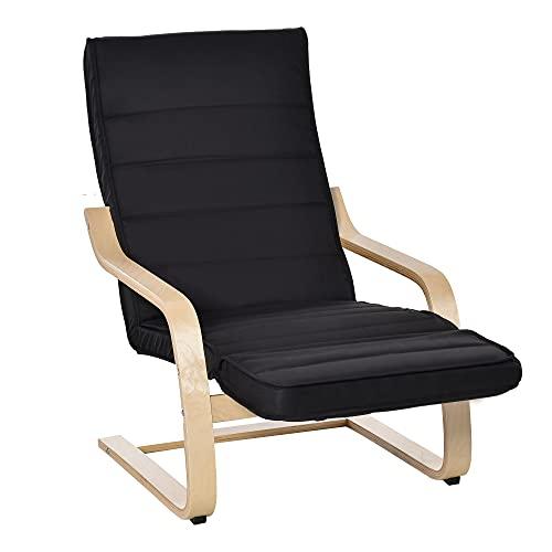 HOMCOM Relaxsessel Ruhesessel Relaxstuhl verstellbares Fußteil Auflage Holz Schwarz 66,5 x 81 x 100cm