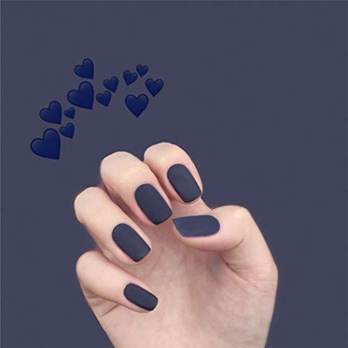 Jovono color sólido uñas postizas uñas postizas mate uñas cuadradas uñas artificiales de cubierta completa para mujeres y niñas (24 piezas) (azul oscuro)