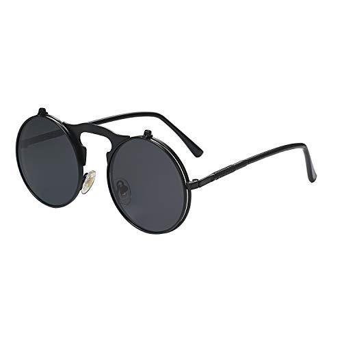 Aroncent Gafas de Sol Steampunk Mujer Polarizado Hombre Unisex Lentes Negro de Espejo Plano Reflecto Marco Metal Armazon Fino Bloquea de 100% UVA UVB Protección de Ojos Antideslumbrante Verano Retro