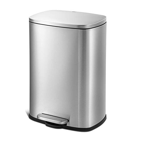 QUALIAZERO 50L/13Gal Heavy Duty Hands-Free Stainless Steel Commercial/Kitchen Step Trash Can,...