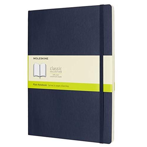 Moleskine Classic Notebook, Taccuino con Pagine Bianche, Copertina Morbida e Chiusura ad Elastico, Formato XL 19 x 25 cm, Colore Blu Zaffiro, 192 Pagine