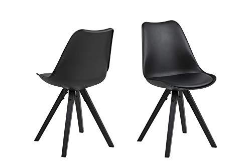 Amazon Brand - Movian Arendsee - Set da 2 sedie sala da pranzo, 55 x 48,5 x 85cm, Nero/ gambe in rubberwood verniciate di nero