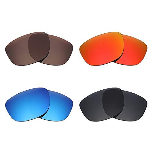 Mryok 4 Paires polarisées Lentilles de Remplacement pour Oakley Holbrook XL Lunettes de Soleil – Stealth Noir/Rouge Feu/Ice Bleu/Bronze Marron