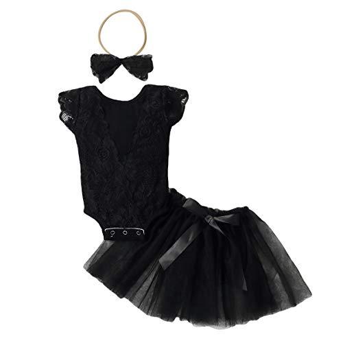 Toddler - Conjunto de 3 piezas de ropa para bebé con lazo, diadema de princesa, tutú, vestido de tul, ropa informal Negro 3-6 meses