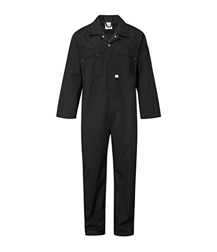 Ladies Zip Front Boilersuit Workwear Boiler Suit Coverall Overall Womens Girls (14 (38' Chest), Black)