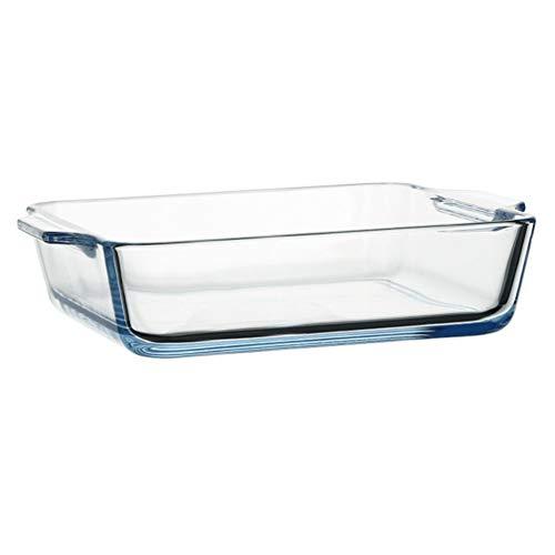 Cabilock Fuente de cristal transparente para horno, 500 ml, vidrio templado, para microondas, comida alargada, fuente de servir, horno básico, para pan