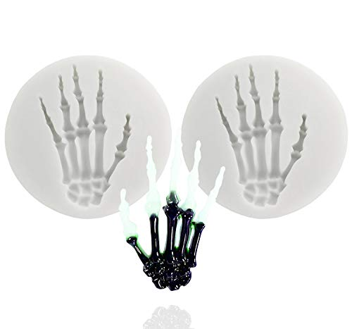 2 Skeleton Hands Molds Halloween Party for Sugar Craft,Cake Decoration, Handmade Ice Cream,Cupcake Topper,Chocolate,Pastry,Cookie Decor,Jewelry, Polymer Clay, Crafting Projects