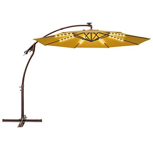 Strong Camel 10FT Offset Cantilever Patio Umbrella Outdoor Market Hanging Solar Umbrella (Tan)