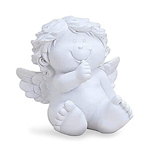 TEMPELWELT Deko Engel Figur Babyengel Sitzend 12 cm, Polystein Weiß Dekofigur Engelkind Engelchen Engelbaby, Geschenk Geburt Taufe