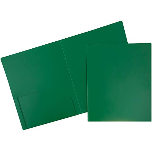 JAM PAPER Heavy Duty Plastic 2 Pocket School Folders - Green - 6/Pack