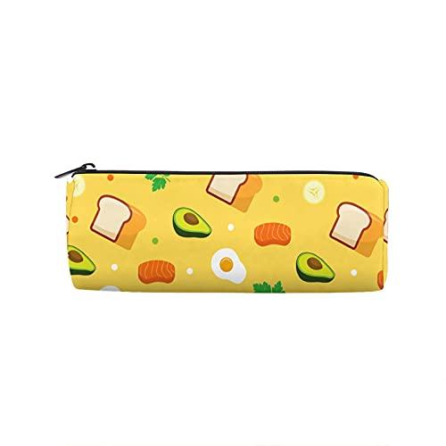 Federmäppchen Cartoon Avocado Toast Runde Stifttasche Multifunktions Stifttasche Studenten Schreibwaren Make-up Tasche Bürobedarf