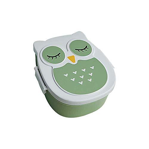 SuperglockT Fiambrera con diseño de búho, con separador, para niños, niñas, jóvenes, dulce, para desayuno, aperitivos, almuerzo, portátil, para guardería, excursión, resía, camping, picnic (verde)