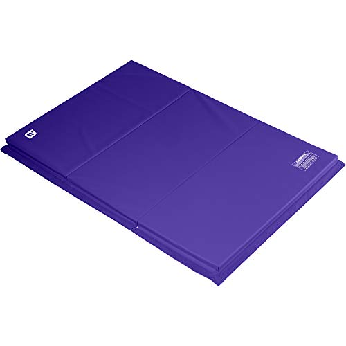 We Sell Mats 4 ft x 6 ft x 2 in Gymnastics Mat, Folding Tumbling Mat, Portable with Hook & Loop Fasteners, Purple