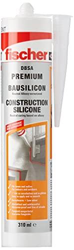 fischer Bausilicon DBSA, geruchsarmes Premium Silikon, wetterfeste Dichtmasse für Innen- & Außenbereich, Kartusche für zahlreiche Anwendungen und Baustoffe, 310 ml, transparent