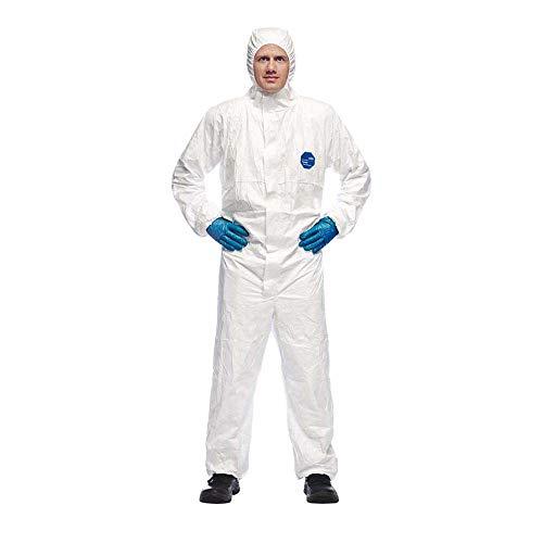 DuPont Tyvek 500 Xpert Chemikalienschutzkleidung mit Kapuze, KategorieII, Typ 5-B und 6-B Robust und Leicht Weiß Größe XXL