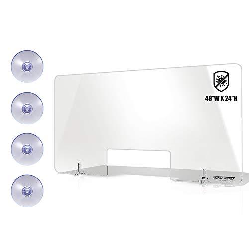 GuardMate Plexiglass Shield Premium Commercial Grade Sneeze Guard DUAL Lock Design Acrylic Divider Portable Plastic Barrier Plexiglass Shield Desk Cashier Checkout Counter (1, Suction Base - 48X24)