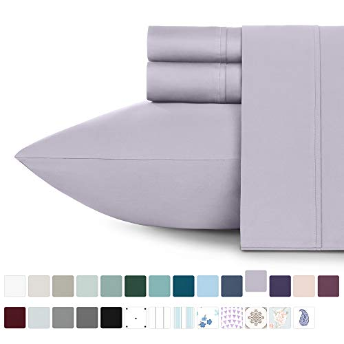 Premium 400-Thread-Count 100% Natural Cotton Sheets - 3-Piece Lavender Grey Extra Long Twin Size Sheet Set Long-Staple Combed Cotton Bed Sheets for Bed, Sateen Weave, Fits Mattress 15'' Deep Pocket