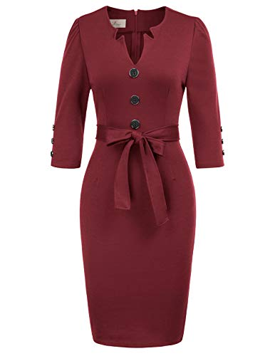 GRACE KARIN Women Retro 3/4 Sleeve Work Office Pencil Dress with Belt M Wine Red